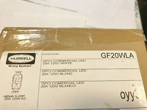 Lot Of 9 New Hubbell Gf20wla Gfci Commercial Led 125v White Outlet Best Price