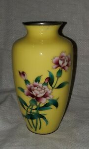 Antique Japanese Yellow Peony Cloisonne 7 25 Vase Silver Base