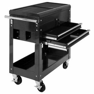Rolling Mechanics Tool Cart 2 Drawer Slide Top Utility Storage Cabinet Organizer