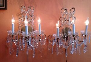 Pair Of Art Deco Nouveau Beaded Crystal Bagues French Chandelier Sconces