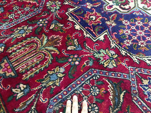8x11 Red Vintage Rug Hand Knotted Wool Oriental Worn Antique Handmade Large 8x12