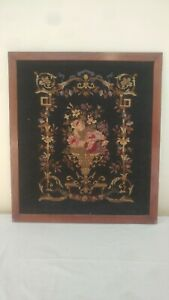 Antique Large Victorian Framed Floral Needlepoint Look