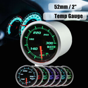 2inch 52mm Car Auto Digital Chrome Led Water Temp Temperature Gauge 7 Color