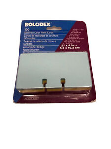Vintage Rolodex Refill Cards 100 File Pastel Blue Pink Yellow 2 1 4 X 4