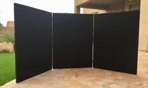 3 Panel Tabletop Display Board Black Velcro With Gold Metal Hinges
