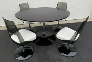 Original Mid Century Tulip Kitchen Oval Table And Chairs Black White Daystrom
