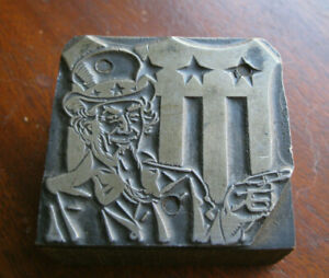 Vintage Printing Press Wood Block With Uncle Sam i Want You
