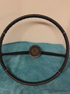1965 66 Black Chevy Corvair Monza Steering Wheel With Chrome Rings