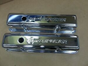 Proform Valve Covers tall Steel chrome Chevrolet Logo chevy Small Block