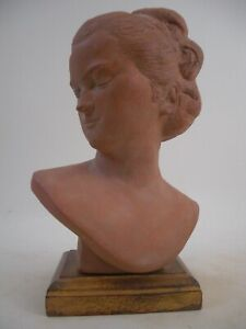 Pajou Ideal Female Head Bust Gold Gilt Wood Base French Grand Tour Style 1of2