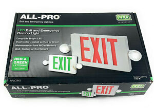 All pro Exit Sign Emergency Commercial Light White Integrated Led Red Letters