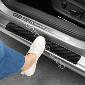 4pc For Dodge Carbon Fiber Car Door Welcome Plate Sill Scuff Cover Decal Sticker
