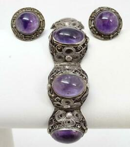 Antique Chinese Export Filigree Silver Amethyst Cabochon Bracelet