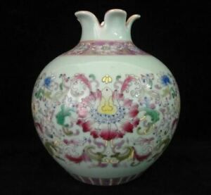 Rare Antique Chinese Doucai Hand Painting Porcelain Pot Vase Qianlong Marks