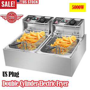 Electric Deep Fryer Dual Tank 2 Fry Basket Commercial Tabletop Home Restaurant