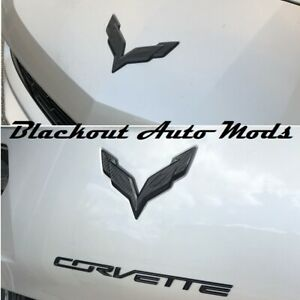 C7 Corvette 2014 2019 Front Rear Emblem Flag Overlay Blackout Carbon Fiber