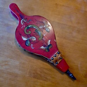 Hand Painted Vintage Fireplace Bellows Red Floral Leather Wood