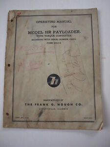 Ih International Hough Hr Front end Wheel Pay Loader Tractor Operator s Manual