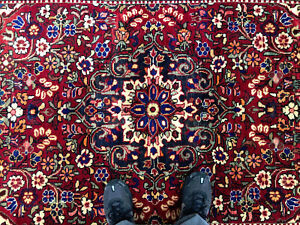 5x8 Red Vintage Wool Rug Hand Knotted Geometric Handmade Oriental 5x7 4x7 4x8 Ft