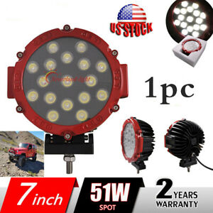 1x 7inch 51w Round Led Work Lights Spot Driving Offroad Boat Truck 4wd Atv Thick