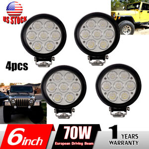 4x 6inch 70w Round Led Work Light European Driving Beam Offroad Atv 4wd Boat Fog