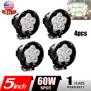 4x 5 Inch 60w Round Led Work Lights Spot Offroad Driving Fog 4wd Suv Cover