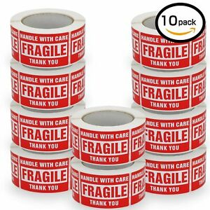 10 Rolls 500 roll 3x5 Large Fragile Sticker Handle With Care Label Free Shipping