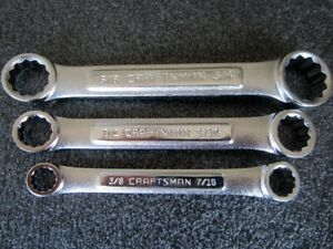 Nos Craftsman vv Sae Stubby Double Box End Wrench Wrench Set Made In Usa