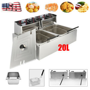 5000w 20l Electric Deep Fryer Dual Tank Stainless Steel Commercial Restaurant