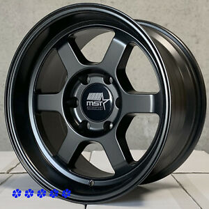 Mst Wheels Time Attack 17 X8 5 10 Flat Black 6x139 7 Rims 6 Lugs Lexus Gx470