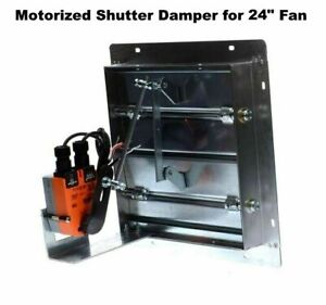 24 Fan Motorized Shutter Damper Flanged Frame Powered Louver Intake Exhaust
