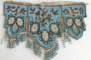 Antique Victorian 18 Needlepoint Beadwork Micro Beaded Panels Valence Or Cover