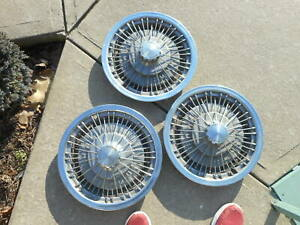 3 Chevy Wire Spoke Spinner Hubcaps Wheel Covers Hub Caps 15 1970s Vintage