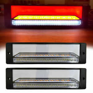 12 Rectangle Led Submersible Red Trailer Truck Boat Stop Turn Tail Lights Kits