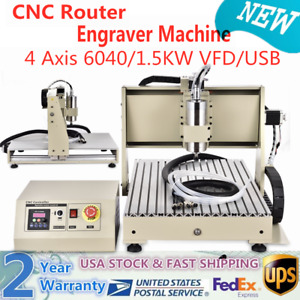 Usb 4 Axis 1 5kw Cnc Router 6040 Engraving Machine Engraver Woodwork Mill Cutter