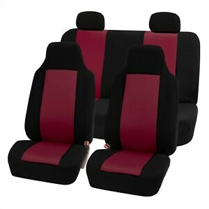 High Back Bucket Seat Classic Cloth Car Seat Covers Full Set Universal Fit