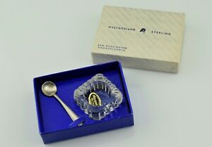 Boxed Westmoreland Hilton Sterling Salt Spoon W Cambridge Glass Salt Cellar