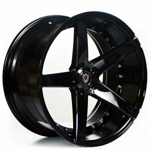 20 Staggered Marquee Wheels M3226 Black Rims Fit Ford Mustang Gt
