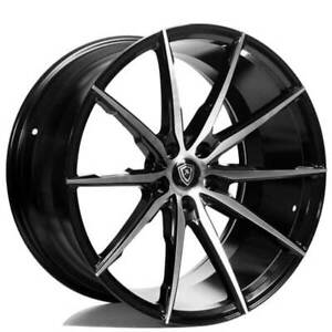 4 20 Staggered Marquee Wheels M1035 Black Machined Rims b3
