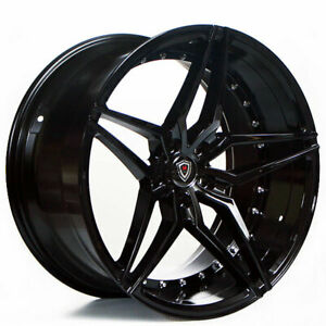 4 20 Staggered Marquee Wheels 3259 Black Extreme Concave Rims b55