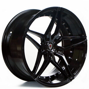 4 20 Staggered Marquee Wheels 3259 Black Extreme Concave Rims b53