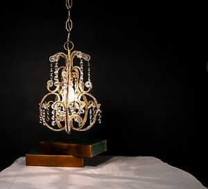 French Style Petite Vintage Beaded Crystal Chandelier
