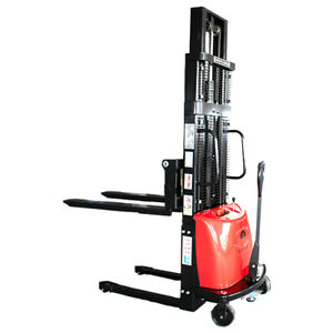 Semi electric Stacker Straddle Legs 118 Height 3300 Lbs Adj Forks