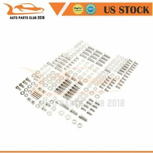 For Chevy Sbc 400 283 327 265 350 305 Stainless Engine Hex Bolt Kit Set