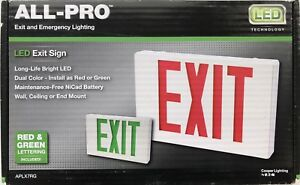 Eaton Cooper Lighting all pro red green Led Hardwired Exit And Emergency Light