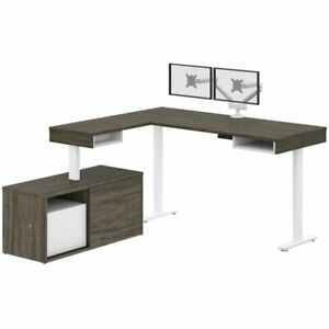 Bestar Pro vega L Shaped Adjustable Standing Desk With Credenza And Monitor Arms