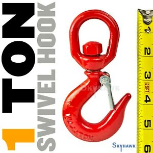 Lifting Hook With Safety Latch 1 Ton swivel 3 8 Thick Eye