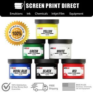 Screen Printing Plastisol Ink Kit Low Temp Cure 270f 6 Colors 8oz