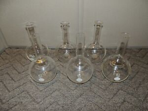 500ml Pyrex Boiling Round Flask Flat Bottom Lot Of 6