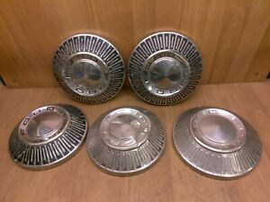 Vintage Set Of 5 Ford 50s 60s Dog Dish Hub Caps 10 5